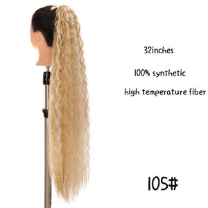 MSTN 30-Inch Synthetic Hair Fiber Heat-Resistant Straight Hair With Ponytail Fake Hair Chip-in Hair Extensions Pony Tail Wig