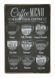 Coffee Menu Emaljeskilte