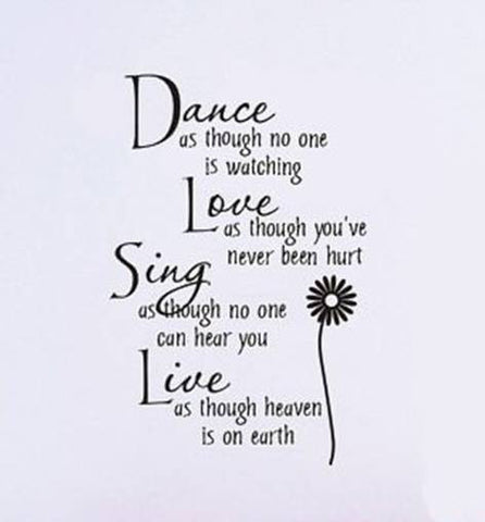 wallstickers tekst dance love sing