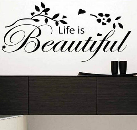 wallstickers tekst life is beautiful