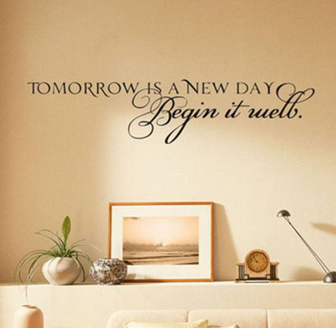 wallstickers tekst tomorrow is a new day