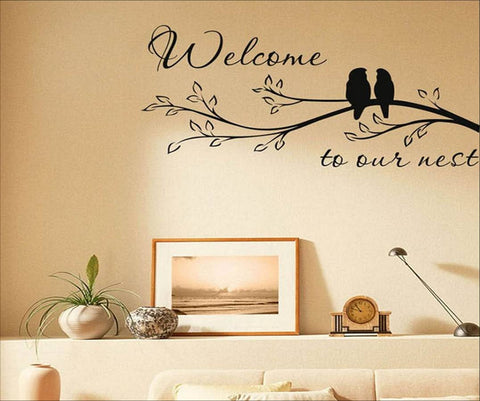 wallstickers tekst welcome to our nest
