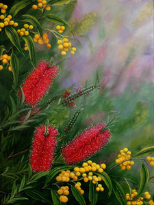 Bottlebrush and golden wattle