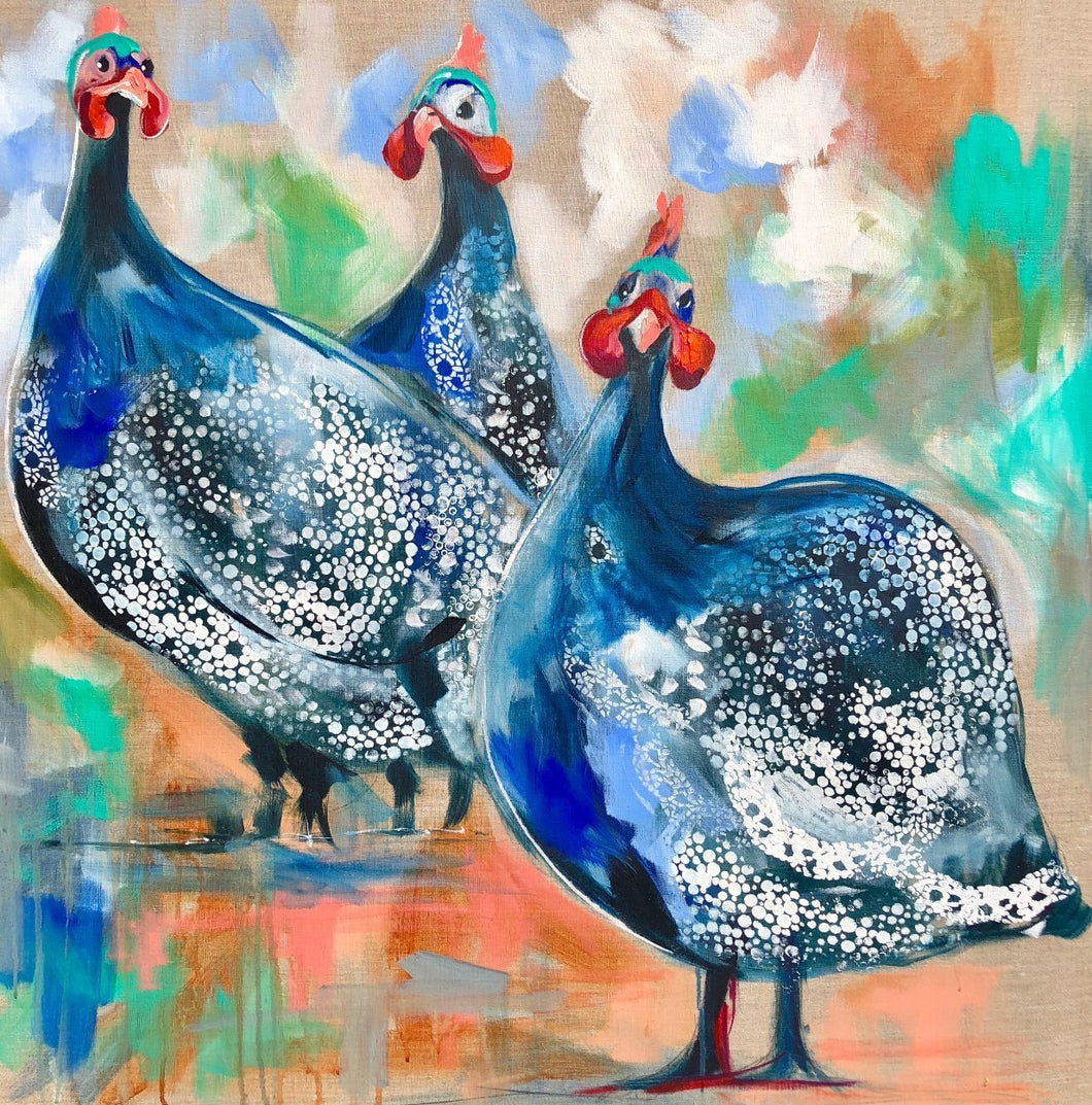 Guinea Fowl Gathering - Limited Edition Print
