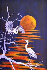 Egrets and Moonlight