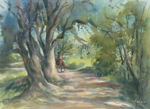 watercolour landscape of a girl riding a horse on a sun dappled bush path