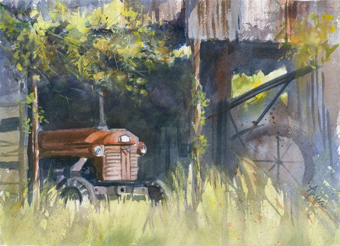 watercolour landscape of an old tractor in an old shed