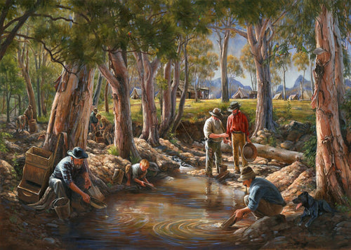 Gold Panning in Oakey Creek, 1881