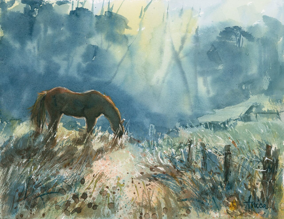 Watercolour painting of brown horse grazing in morning mist