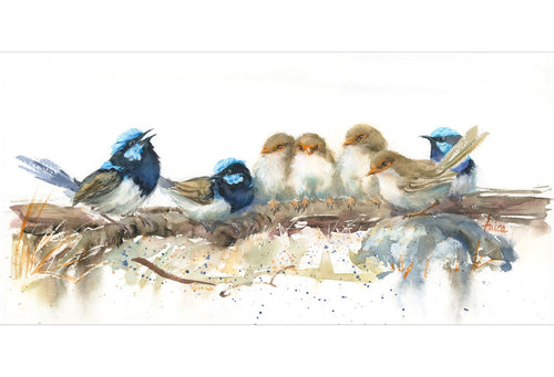 Watercolour painting of family of superb wrens on a log
