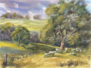 Watercolour landscape of Milton Vista from Gordon Street