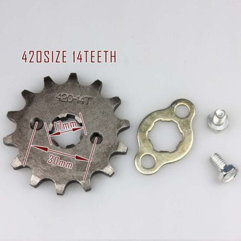 Front Sprocket 17mm 420 chain 14 Teeth