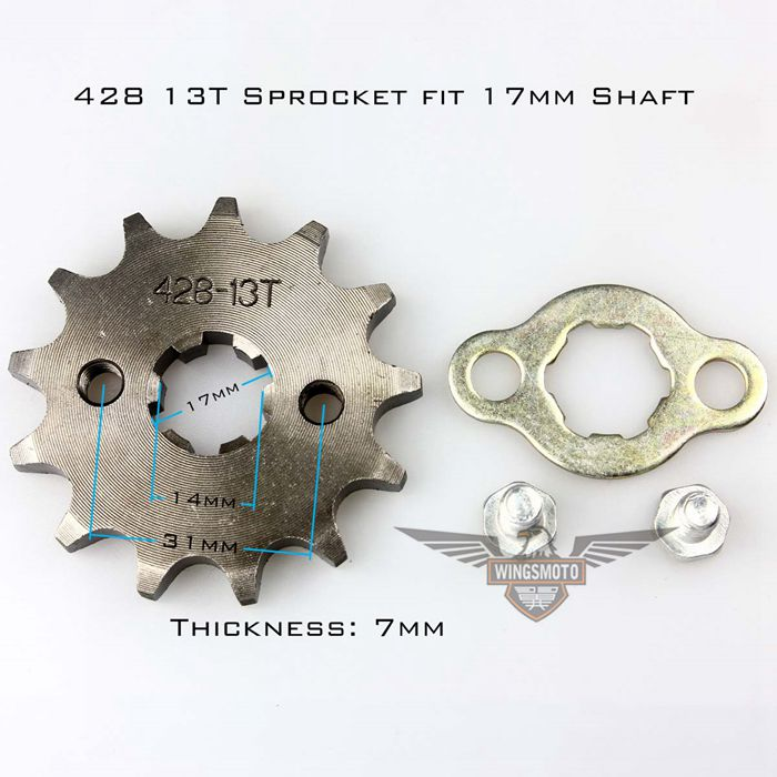Front Sprocket 17mm 428 Size 13 Teeth