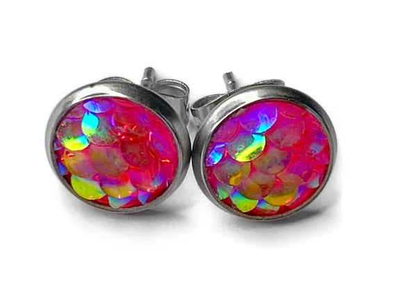 8mm Iridescent Mermaid Earrings (9 colours)