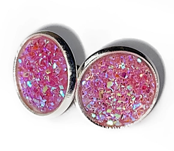 12mm Iridescent Druzy Earrings (3 colours)