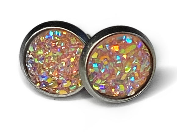 8mm Iridescent Druzy Earrings (9 colours)