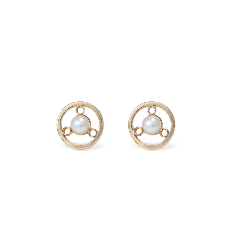 14K CIRCULAR STUD EARRINGS WITH WHITE PEARL