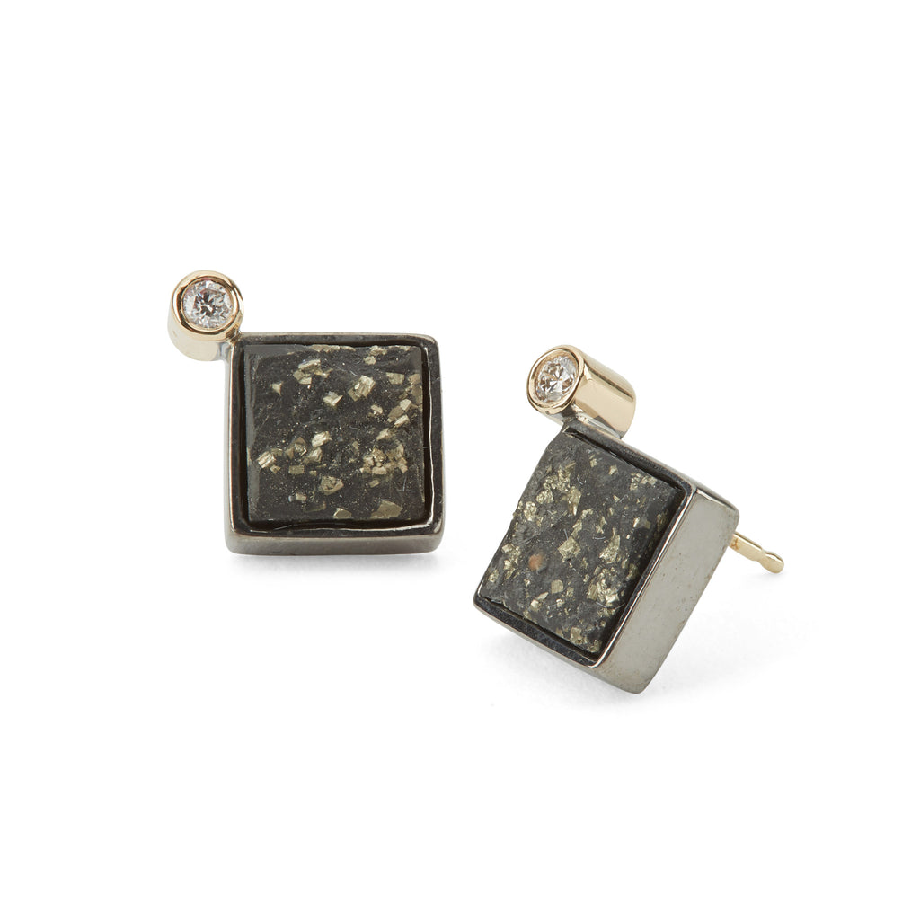 Diamond-With-Slate-And-Pyrite-14K-And-Silver-Earrings