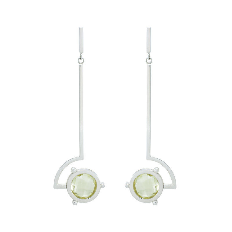 ASYMMETRICAL LEMON QUARTZ EARRINGS