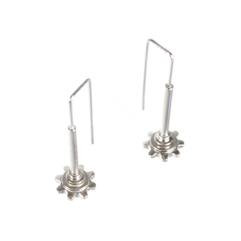 SPINNING SPROCKET EARRINGS WITH RECTANGULAR HOOK