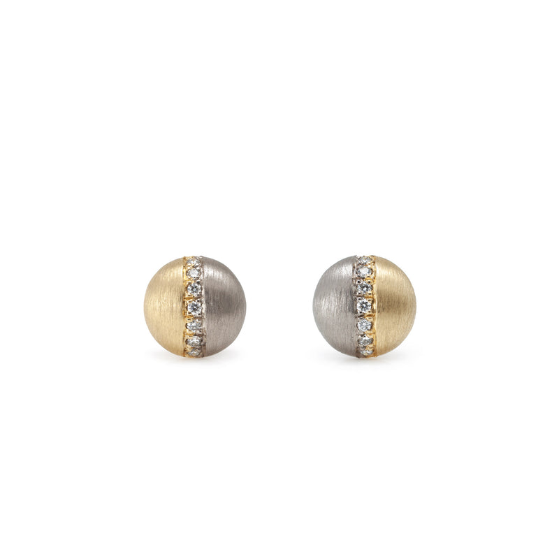 TWO-TONED DOME STUDS WITH PAVE DIAMONDS