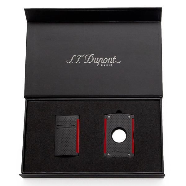 S.T. Dupont - Lighter & Cigar Cutter Set - Maxijet Black & Red