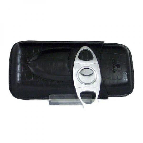 Leather Cigar Case 3cig with Cutter