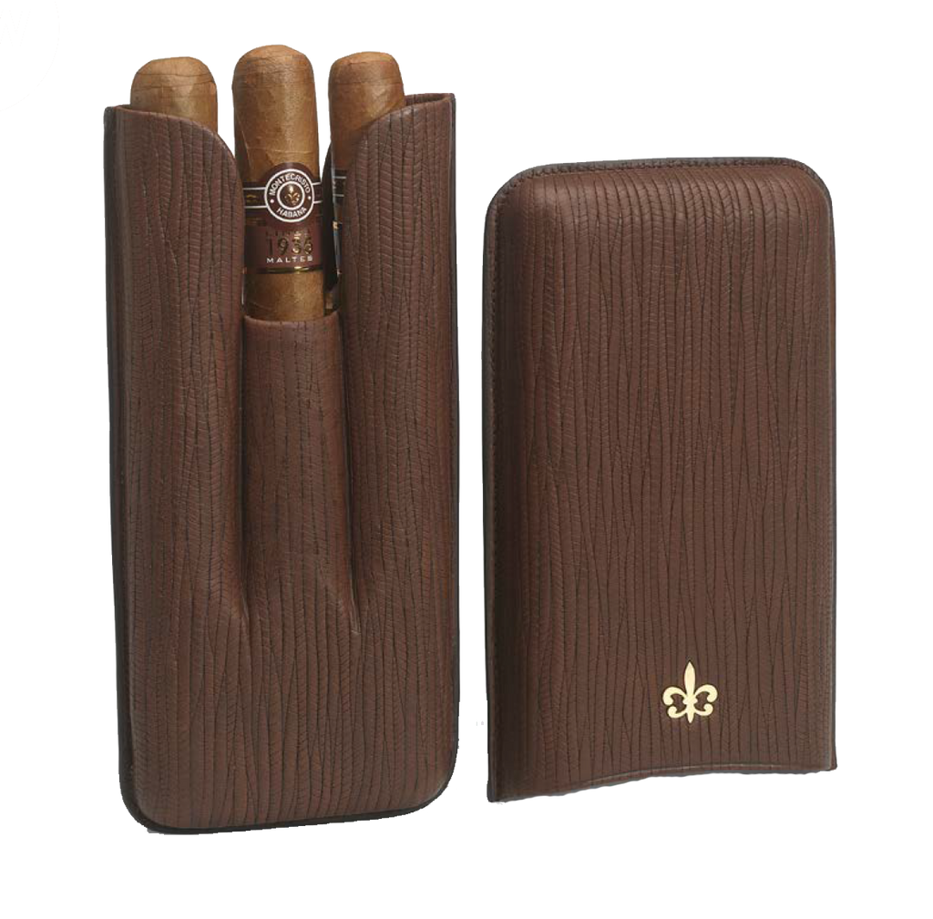 Montecristo Fleur de Lis Leather Case with 3 Linea 1935 Cigars