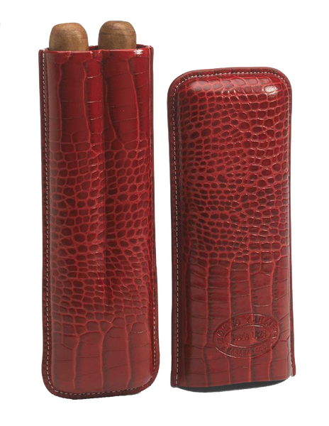 Burgundy Leather Case with 2 R&J Churchill Cigars