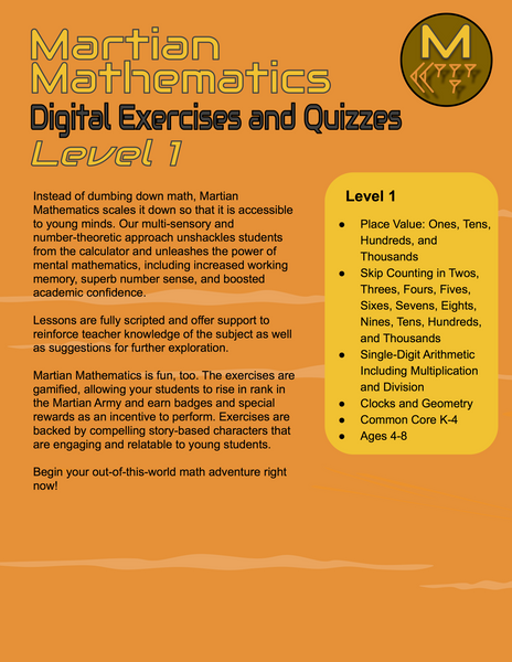 Level 1 Digital Exercises and Quizzes, Lessons 8-15
