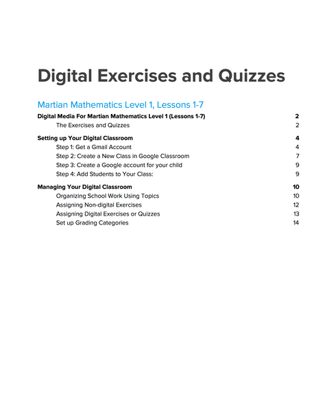 Level 1 Digital Exercises and Quizzes, Lessons 1-7