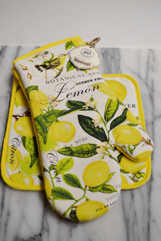 Lemon Basil Pot Holder and Oven Mitt