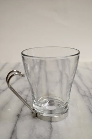 Glass Cappuccino Cup with Steel Handle