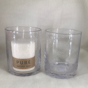 Seed Glass Pillar Candle Holders