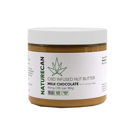 Naturecan 90mg CBD 180g Nut Butter Milk Chocolate with Cacao Nibs