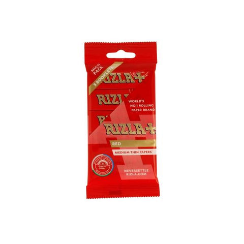 5 Pack Red Regular Rizla Rolling Papers (Flow Pack)