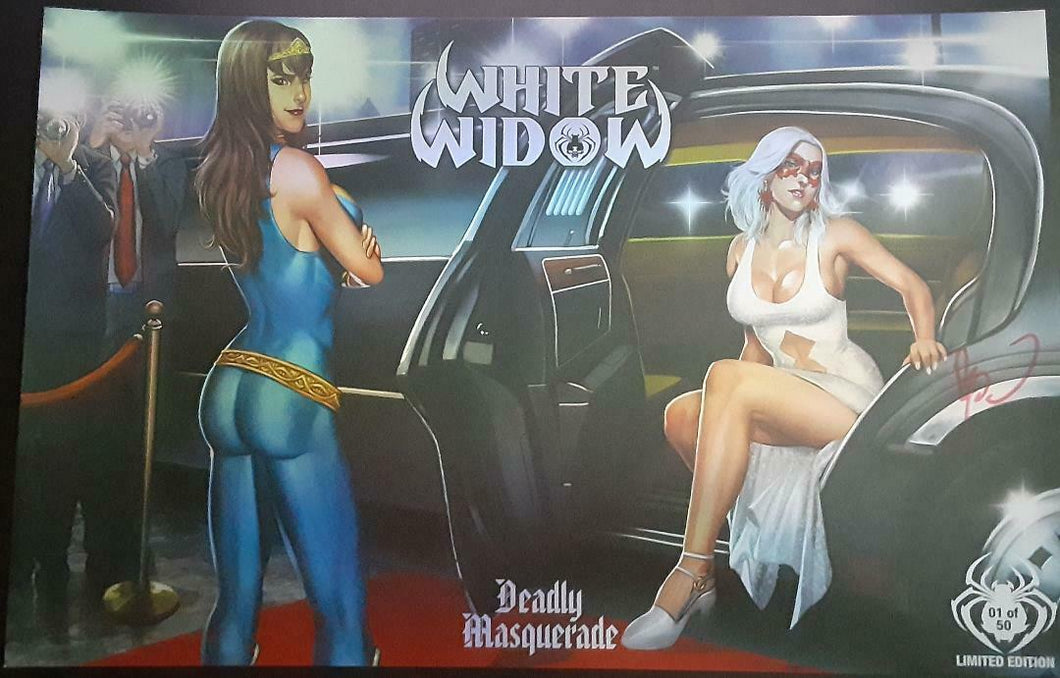 White Widow #3 Benny Powell Deadly Masquerade 11 x 17 Lim Uncut Prism # 1/50 NM