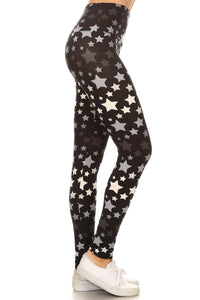 Long Yoga Style Banded Lined Stars Printed Knit Legging With High Waist. - Starlight Trends