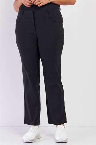 Plus Mid-rise Two Side Leg Zipper Pants - Starlight Trends