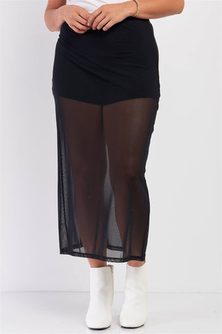 Plus Black High Waisted Sheer Mesh Underskirt Midi Skirt - Starlight Trends