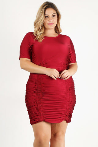 Plus Size Solid Bodycon Mini Dress - Starlight Trends