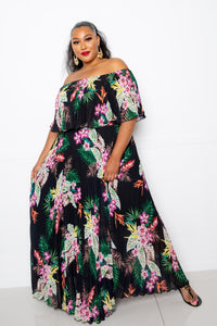 Tropical Printed Off Shoulder Pleated Maxi Dress - Starlight Trends