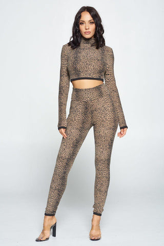 Animal Print Long Sleeve Two Piece Set - Starlight Trends