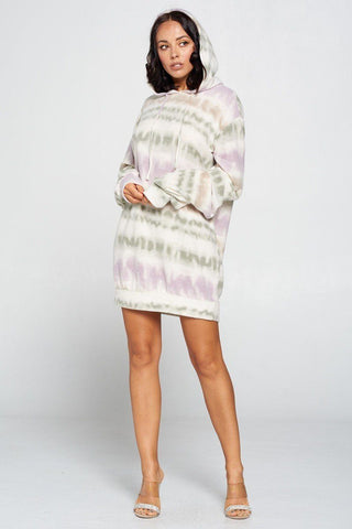 Terry Brushed Print Sweater Dress - Starlight Trends