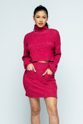 Brushed Knit Mock Neck Drop Shoulder Top With Front Pocket Mini Skirt Set - Starlight Trends