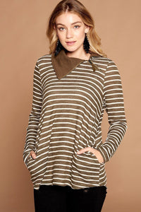 Striped Loose-fit Knit Sweater - Starlight Trends