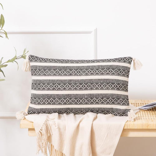 Boho Aztec Throw Lumbar Pillow Cover with Tassels 12x20'' - Aeptom
