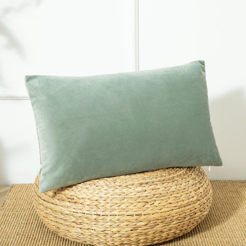 Velvet Lumbar Pillow Cover, 12''x20'' Sage Green - Aeptom