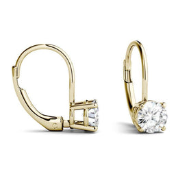 Moissanite Solitaire Leverback Earring in 14K Yellow Gold