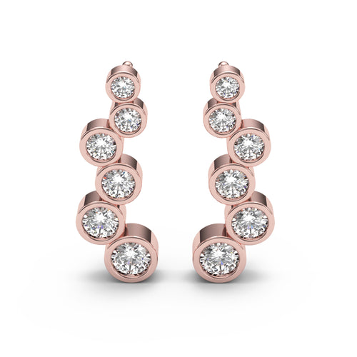Round Cut Diamond Bezel Ear Climbers
